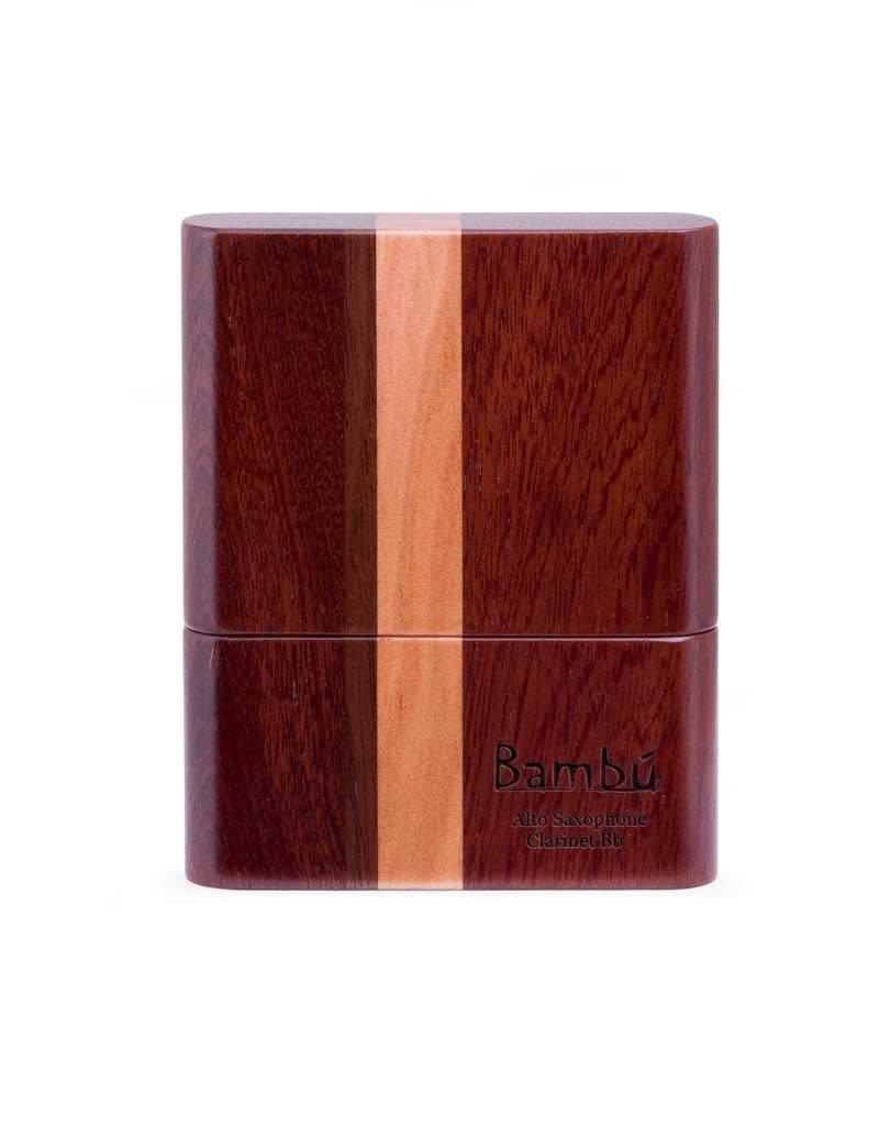 Bambu Bambu hand-made wooden reed case, striped wood finish.