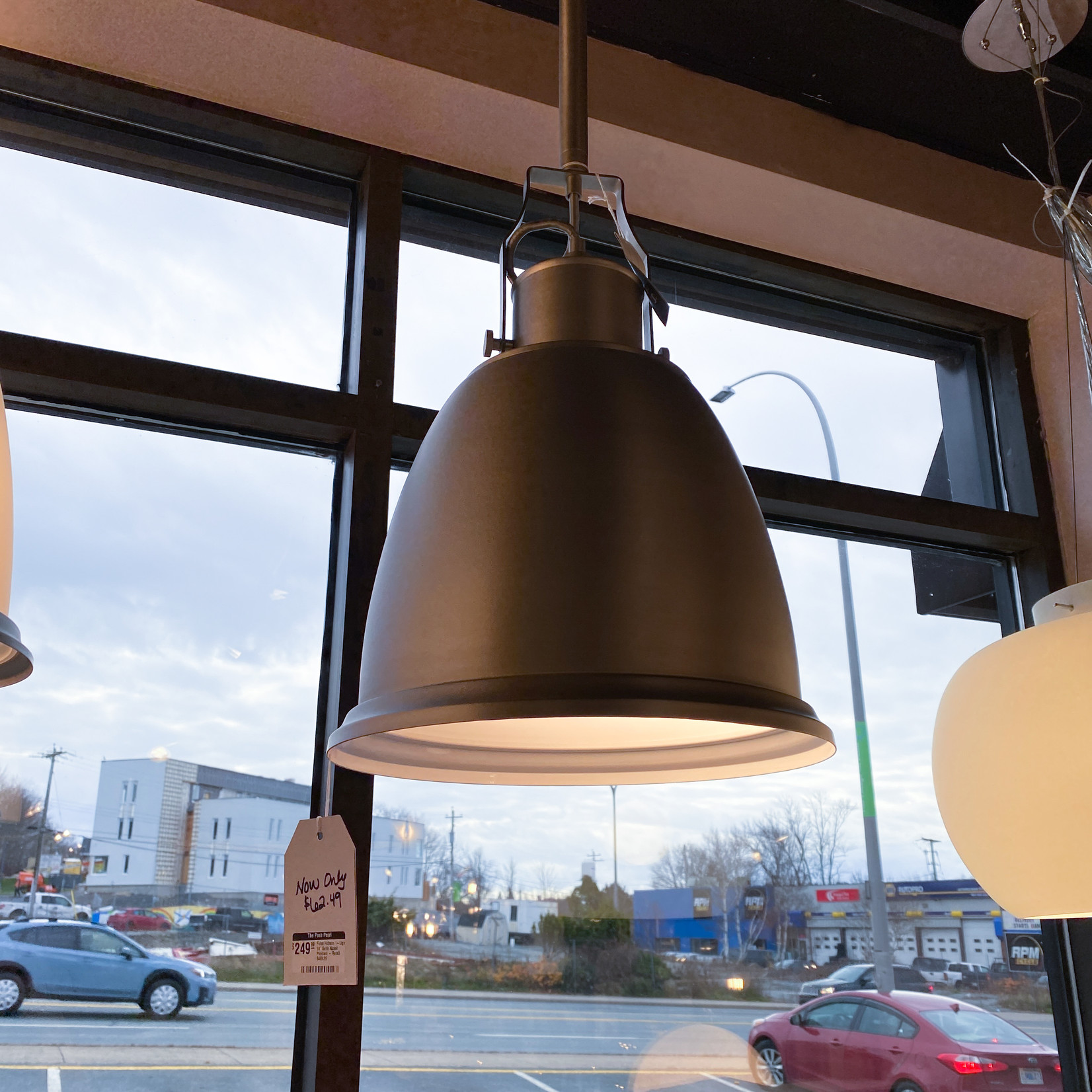 "Feiss Hobson 1-Light 14"" Satin Nickel Pendant - FINAL SALE"