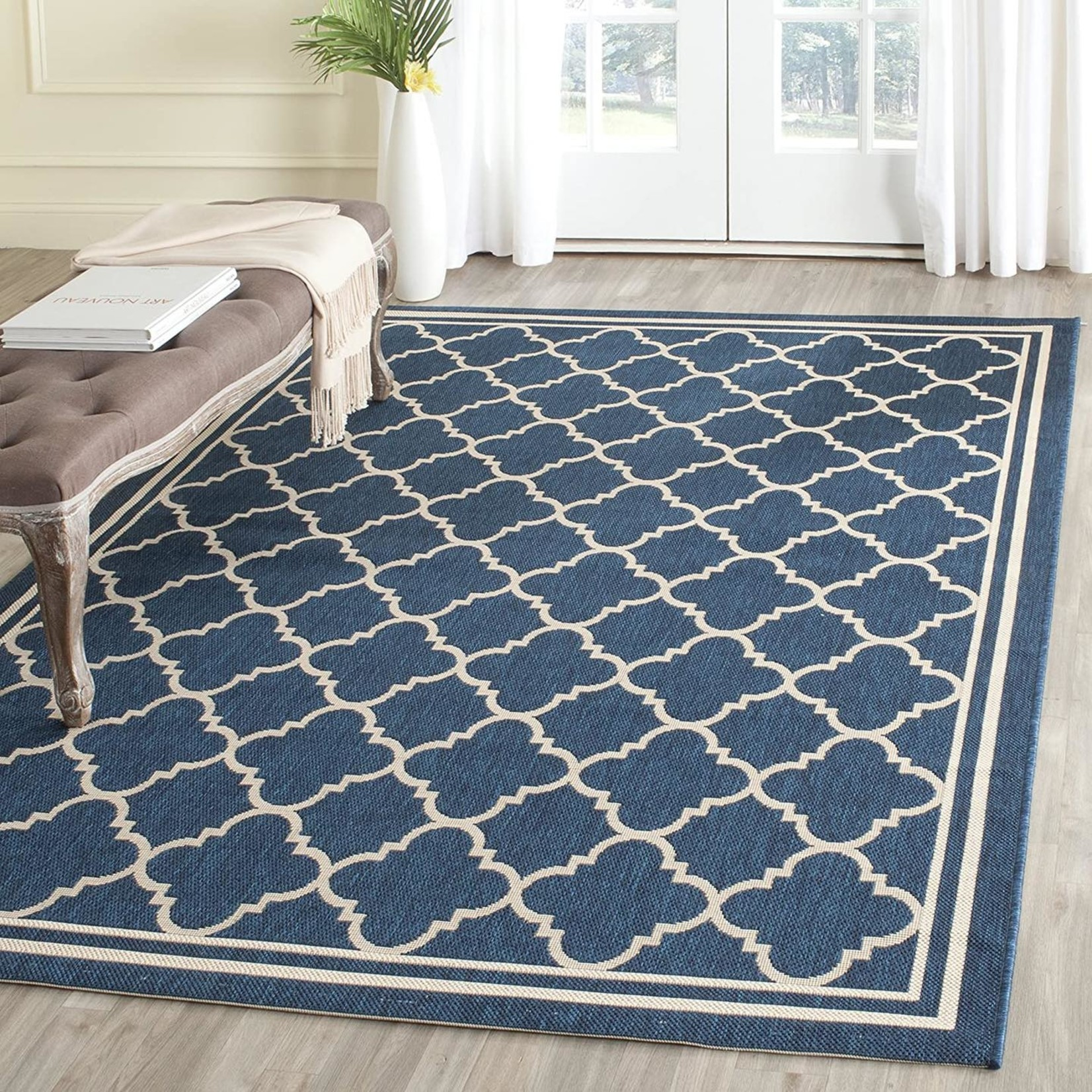 *8' x 10' Antnio Power Loom Navy Blue Rug