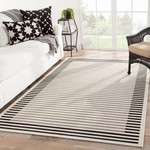 7'10 x  10'10 - Naswith Stripes Beige/Black Indoor/Outdoor