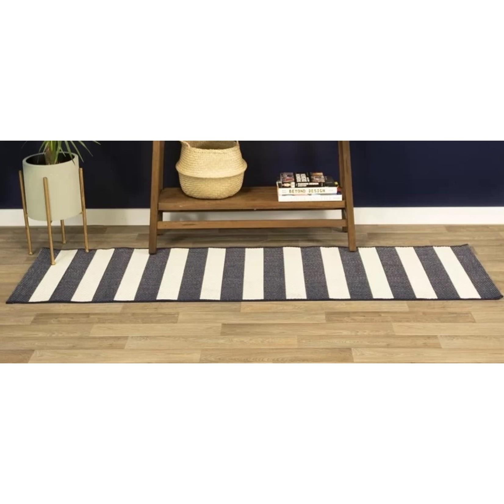 *1'6 x 6'9 - Perine Navy Blue Striped Indoor/Outdoor