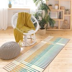 *2'6 x 7' - Ebern Designs Washable Rug Flux Striped Multicolor Runner