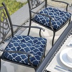 *Indoor/Outdoor Dining Chair Cushions - Set of 4 - Blue Trellis