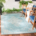 *8' x 11' - Courtyard Aqua/Grey Indoor/Outdoor Area Rug
