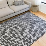*5' x 7'2 - Heimdall Geometric Black Indoor / Outdoor Area Rug
