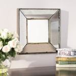 "Traditional 12"" Square Glass Wall Mirror"