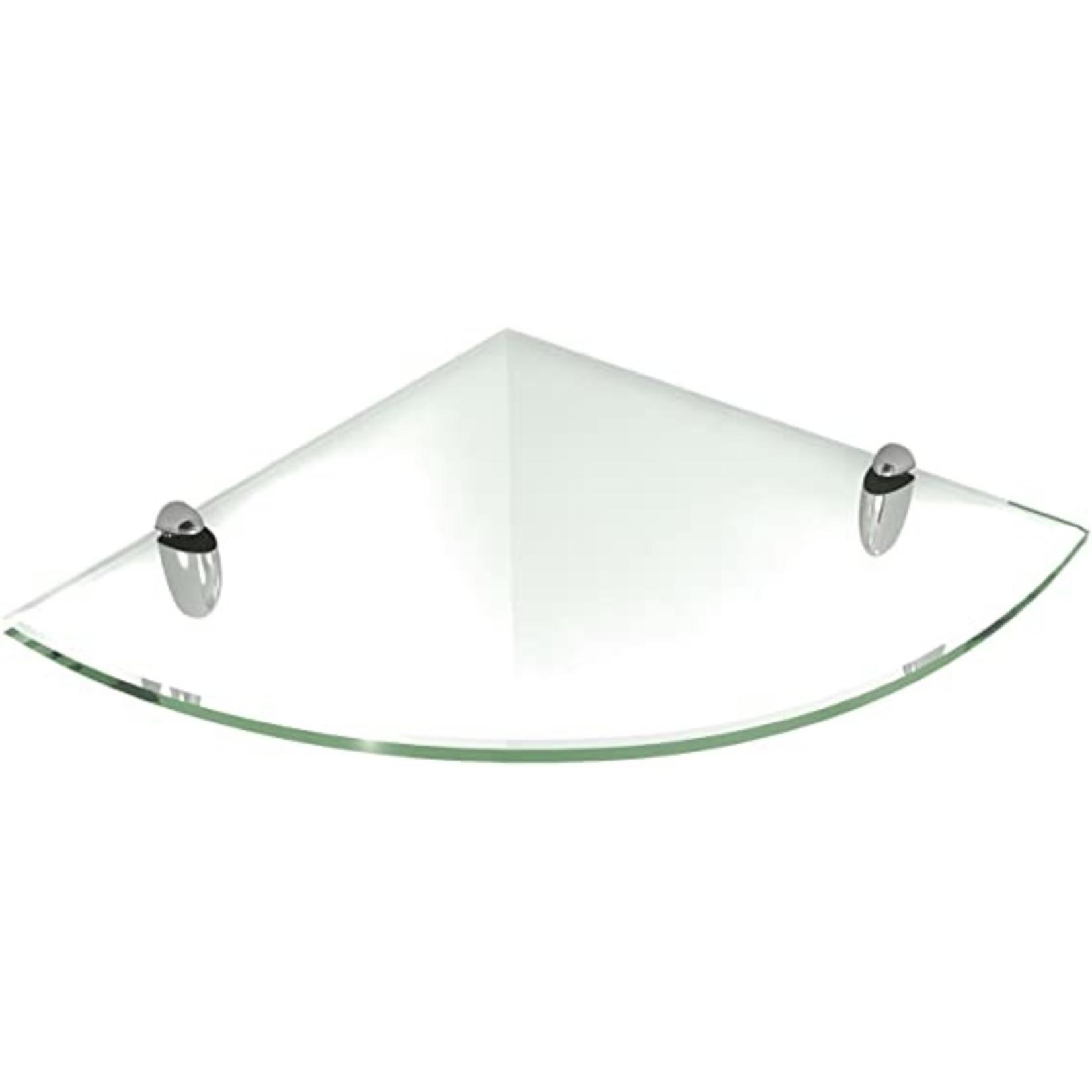 Fritts Floating Glass Wall Shelf - Brass Brackets (Final Sale)