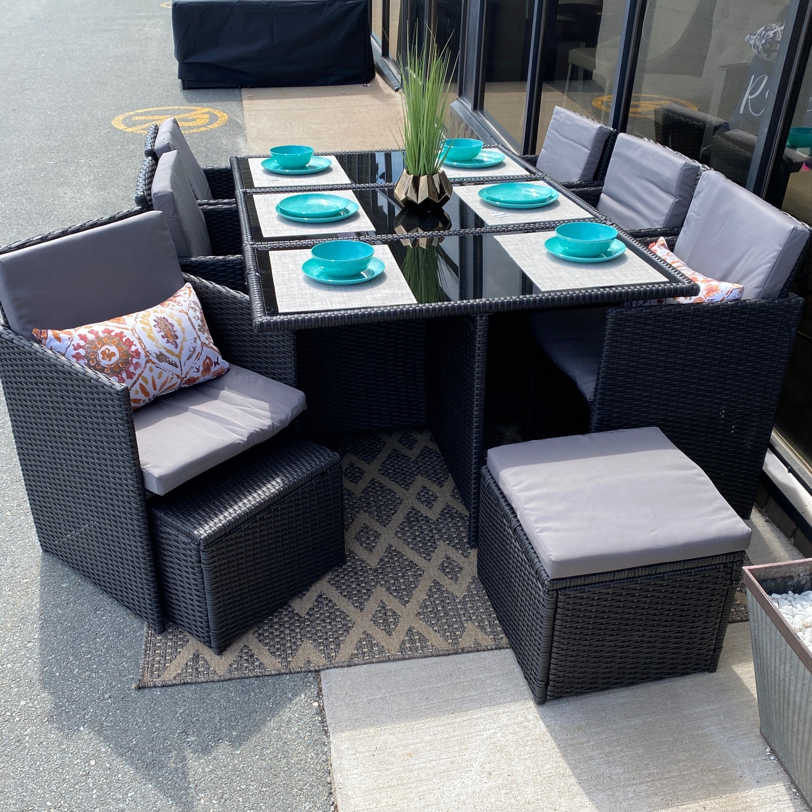 11-Piece Cube Dining Set with Cover - Assembly Required