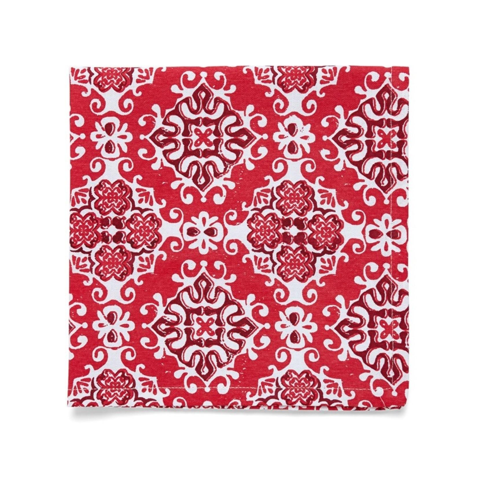ARTISAN NAPKIN S4 18X18 RED -Set of 4