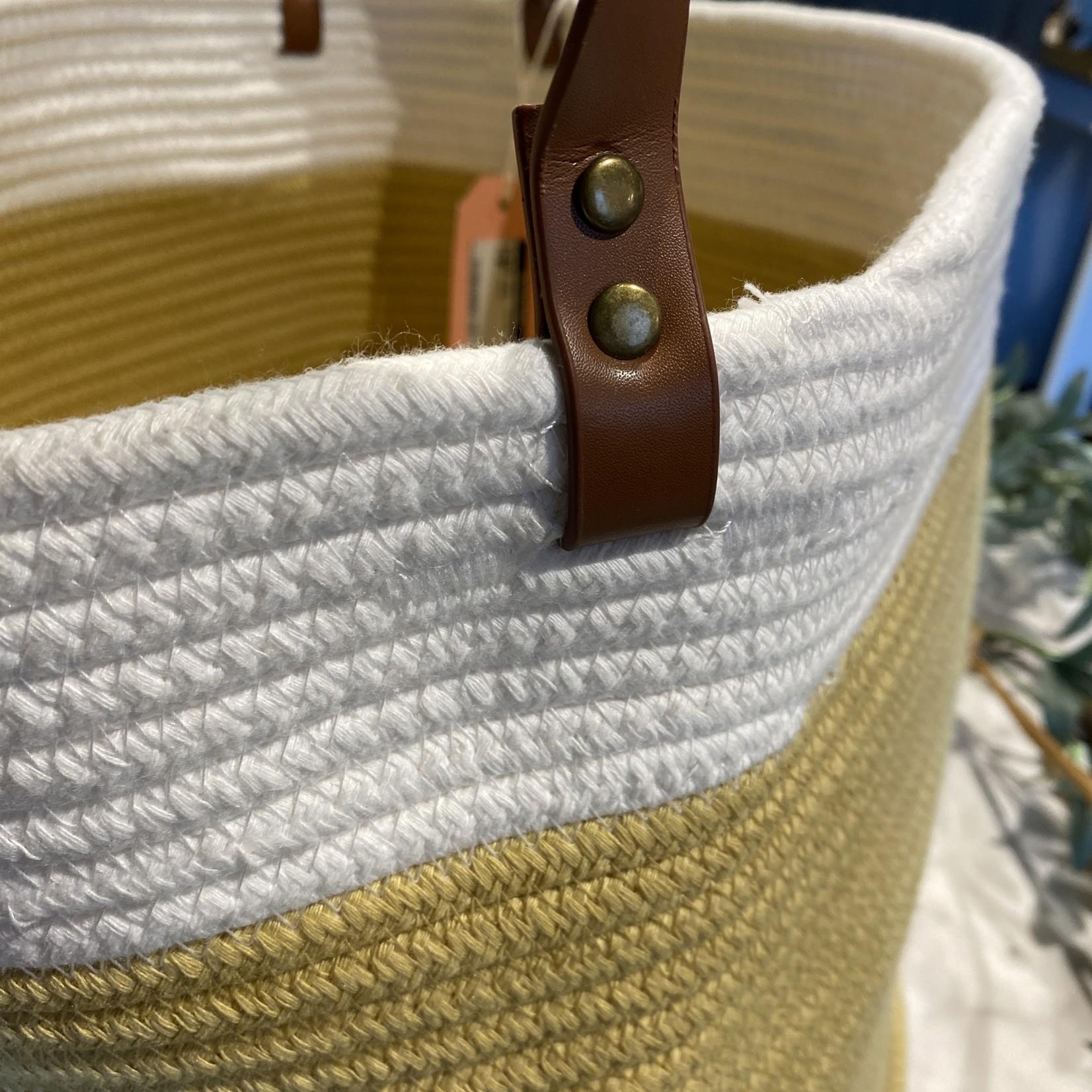 Small - Tan/White Woven Basket