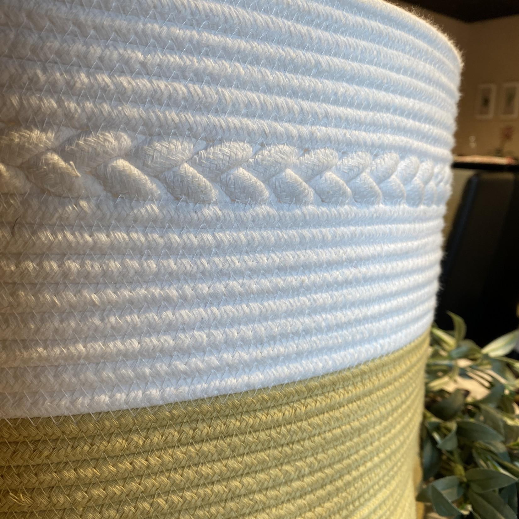 Medium - Tan/White Woven Basket