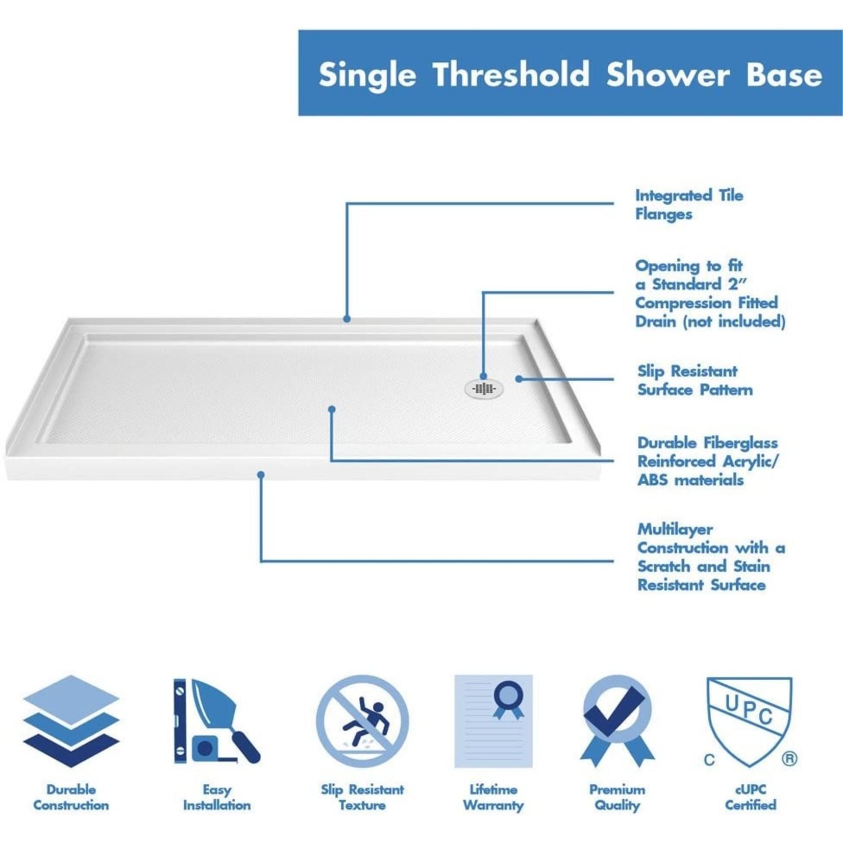 DreamLine SlimLine Shower Base - 30-in x 60-in - Acrylic - White