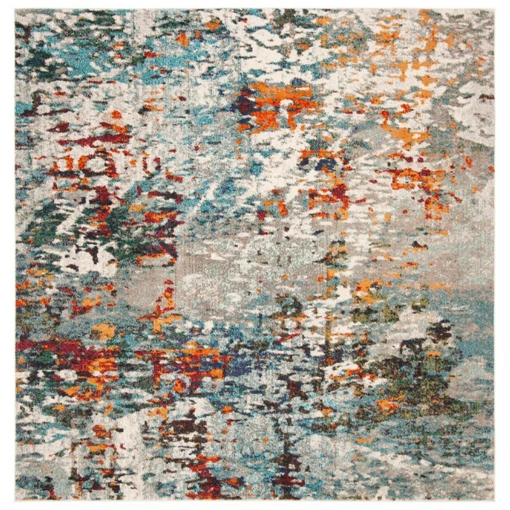 * 5' Square - Neasa Gray/Blue/Orange Rug