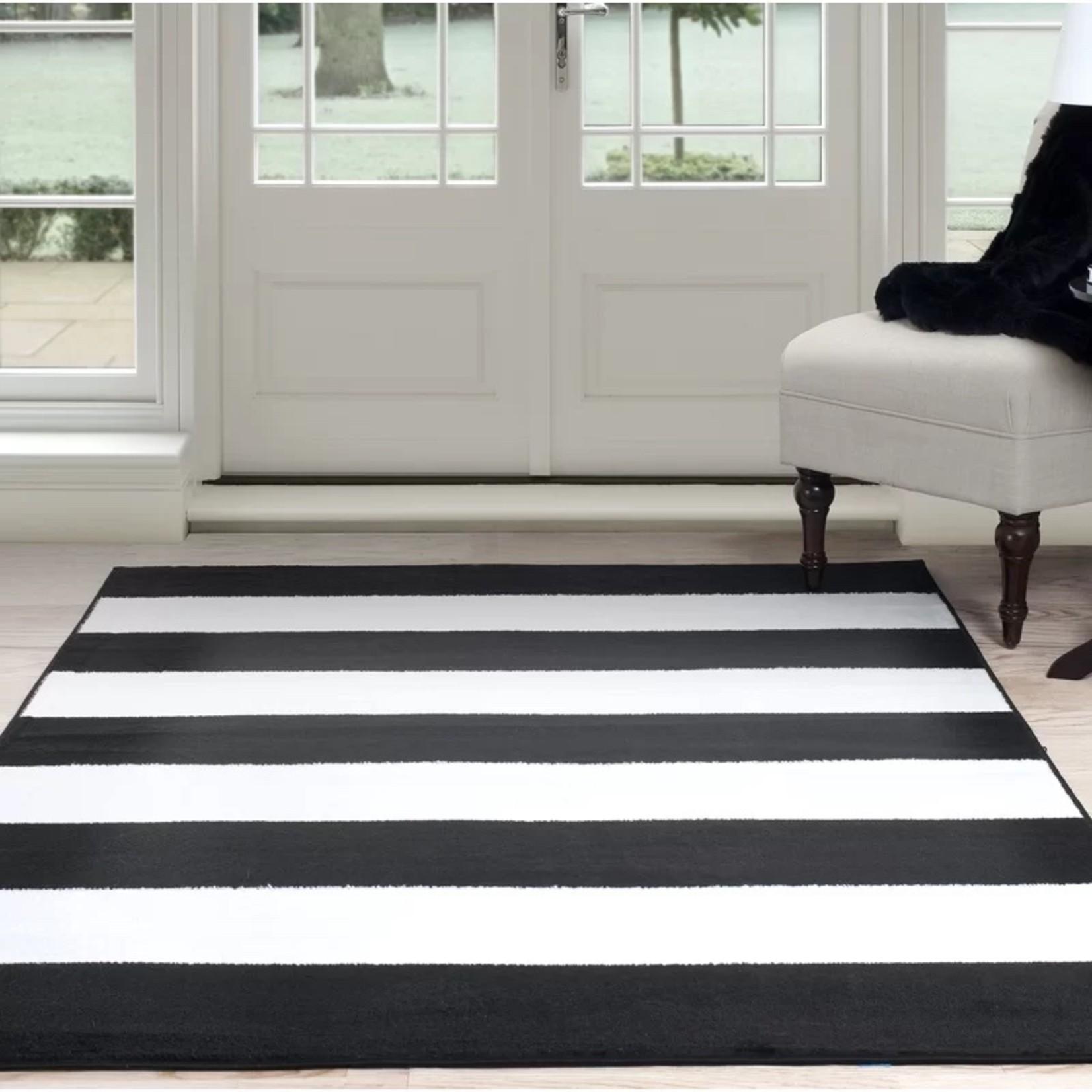 * 8' x 10' - Bold Stripe Black Area Rug