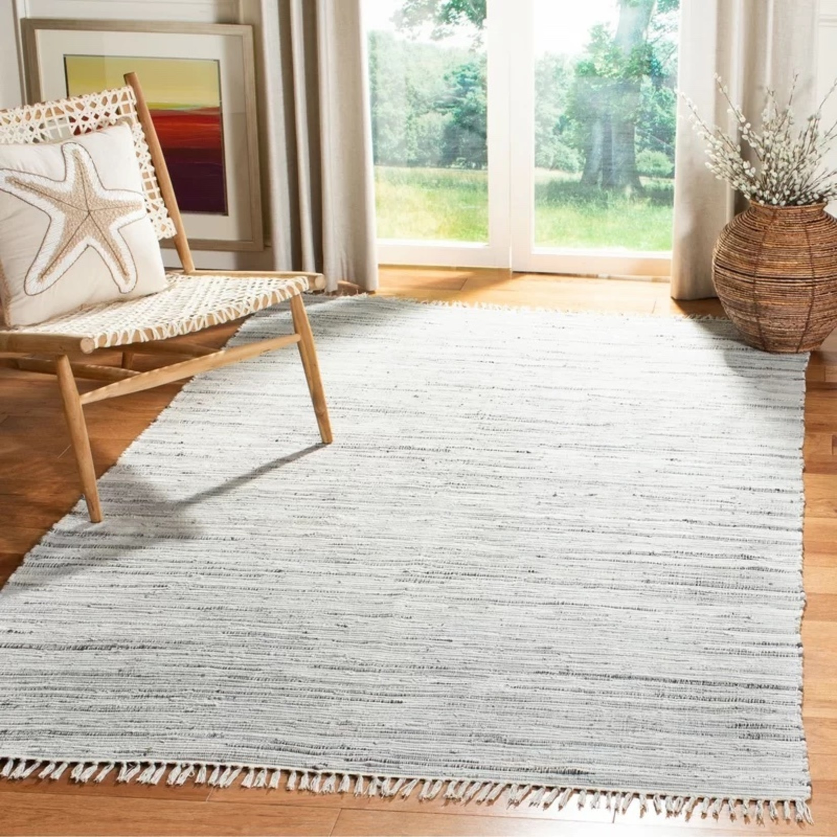 * 6' x 9' - Wincanton Abstract Hand-Knotted Cotton Gray Area Rug