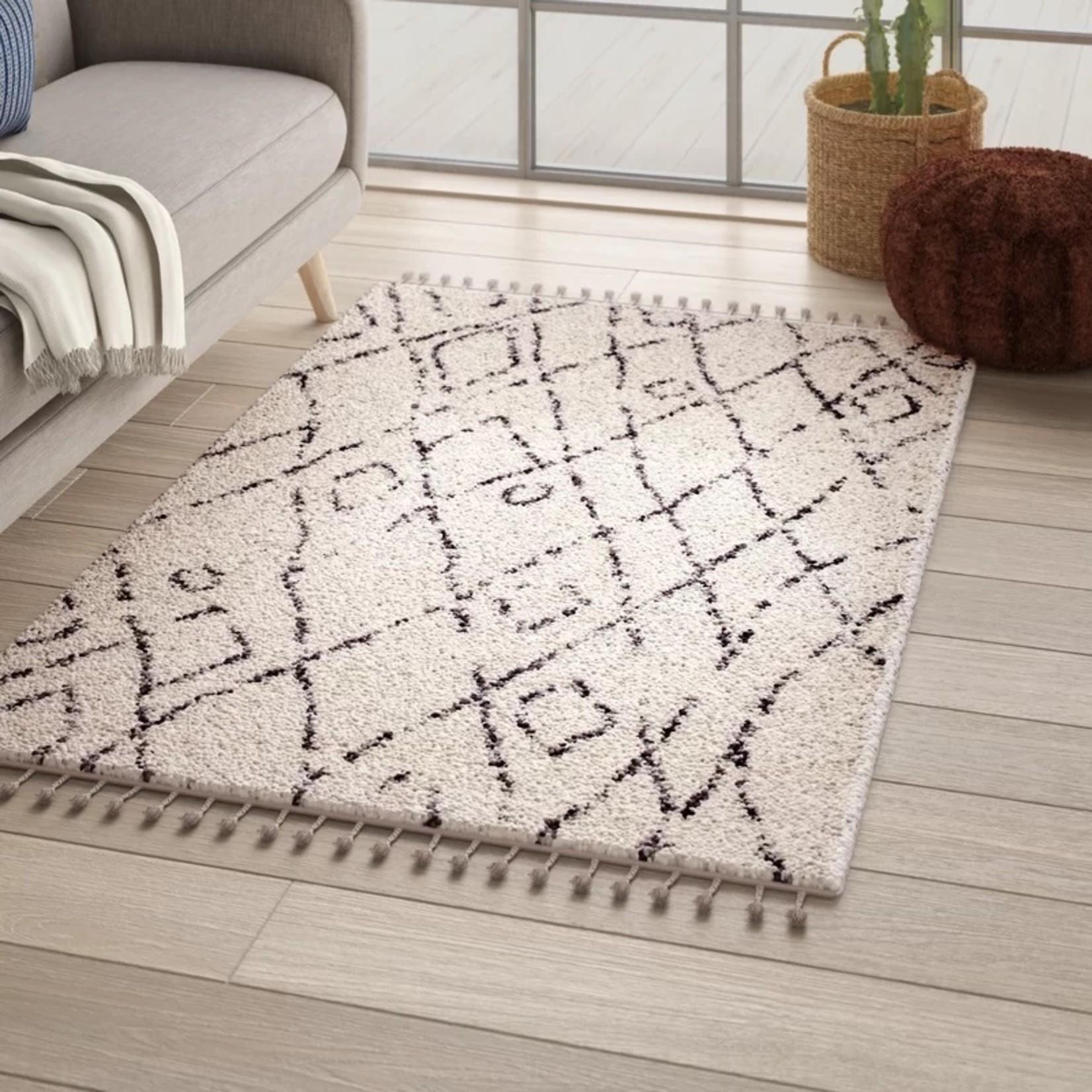 *6'7 x 9' - Borendy Geometric Off White Area Rug