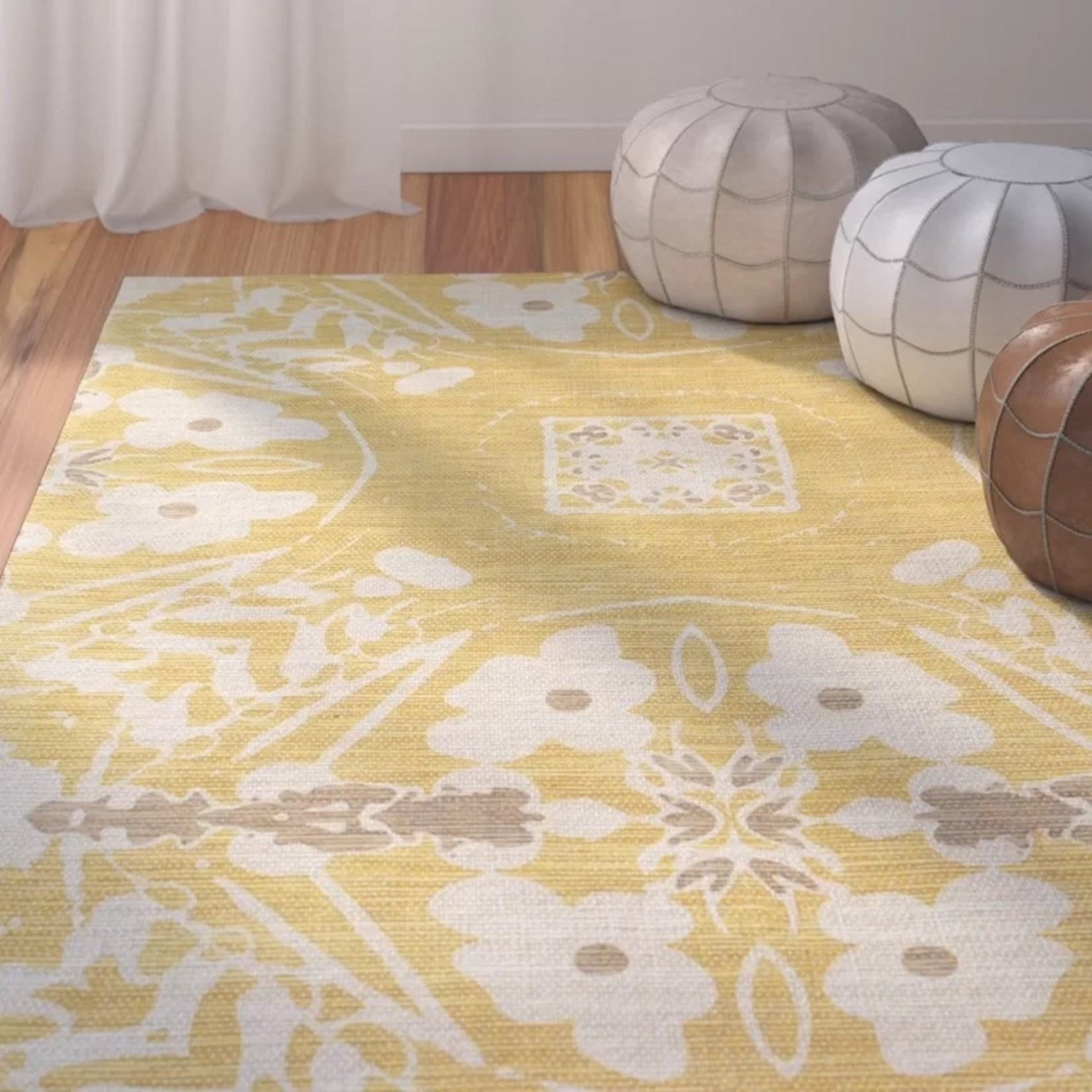 *5' x 8' - Tongouin Floral Handmade Tufted Cotton Yellow Area Rug