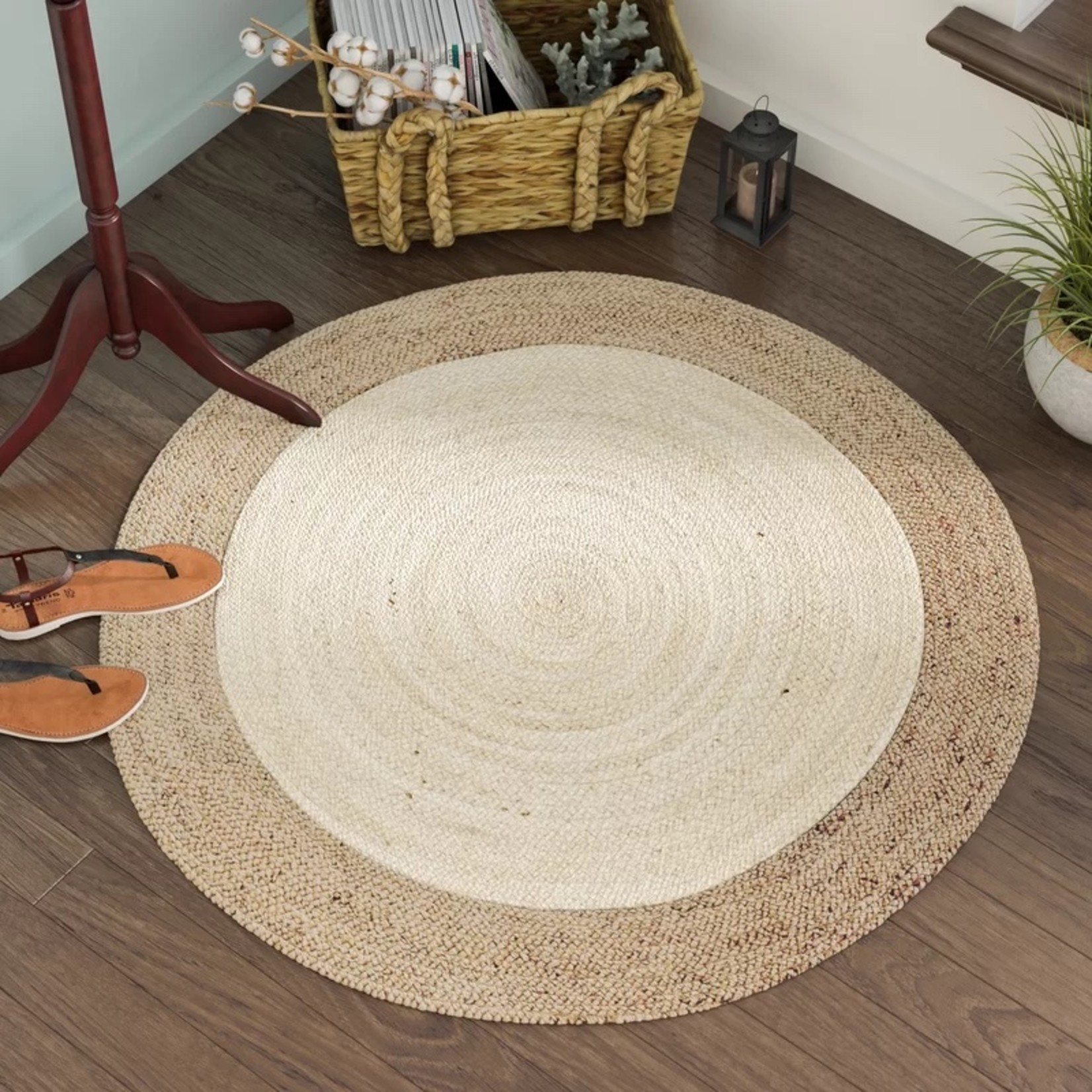 *5' Round - Eisley Hand-Woven Ivory/Natural Area Rug