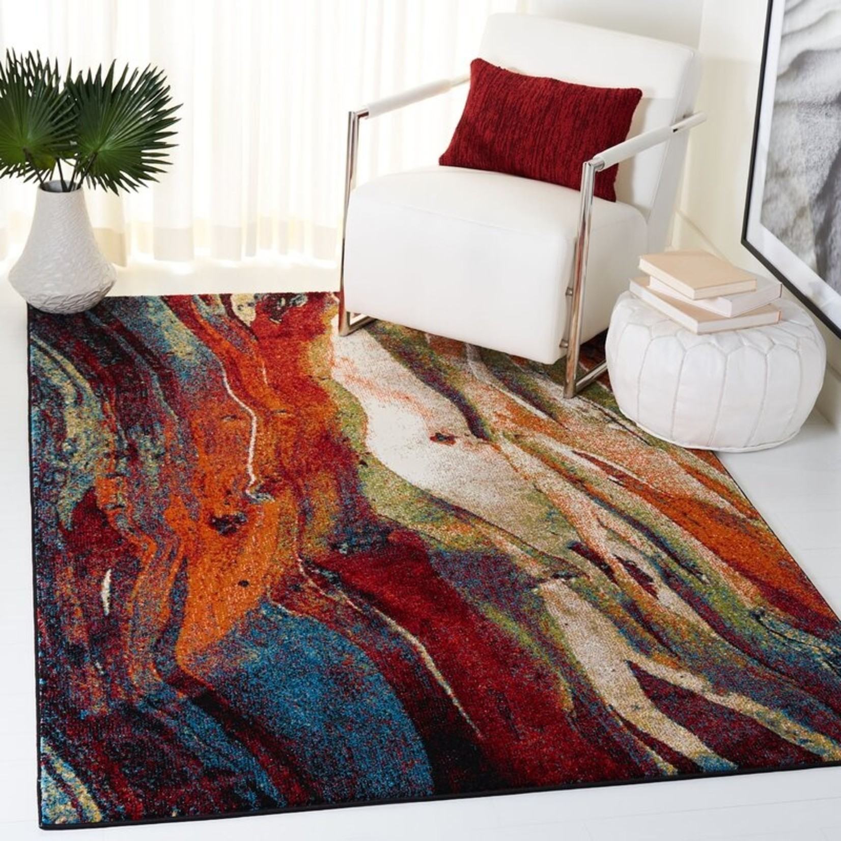 *10'6 x 14 - Dowlen Abstract Red/Green Area Rug