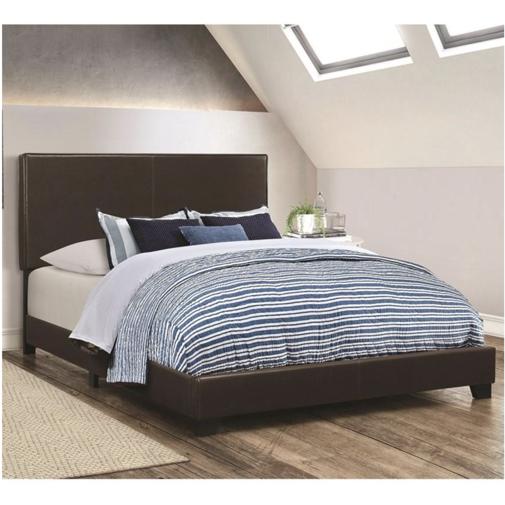 *Cal King - Oxford Upholstered Standard Bed in Brown