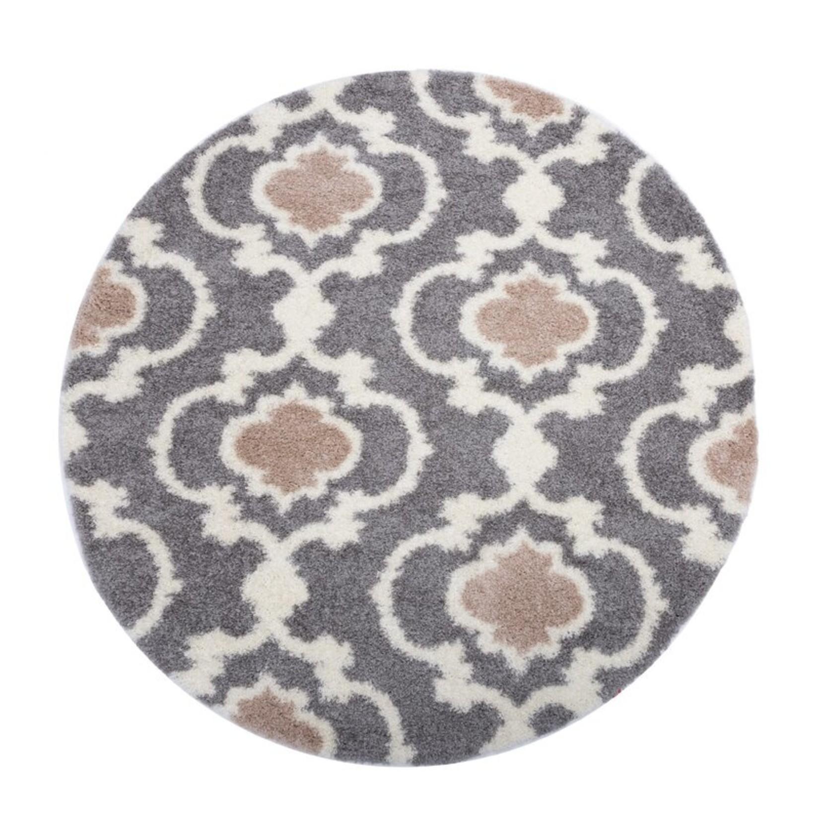 *6'6 Round - Hegwood Geometric Gray/Silver Area Rug