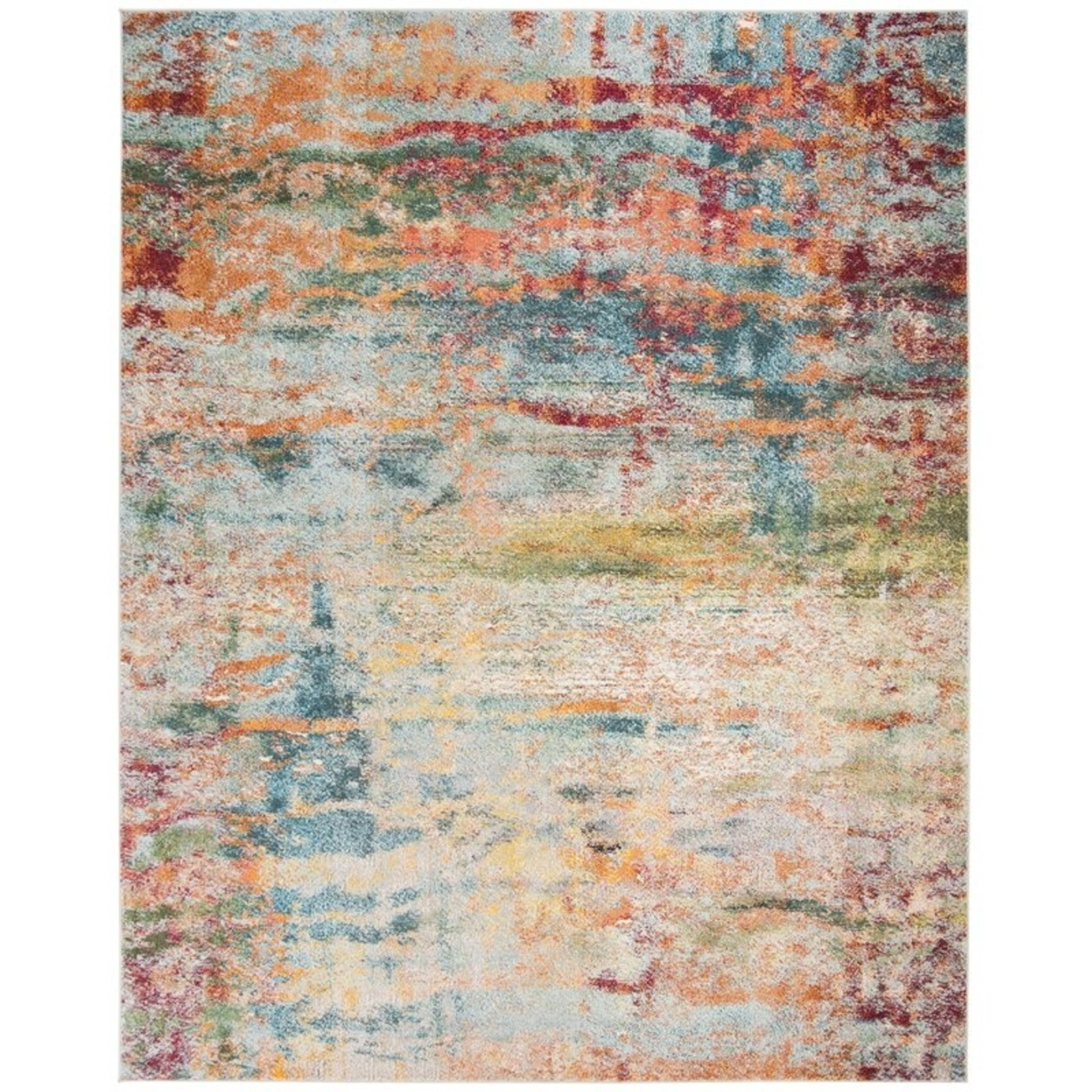 *9' x 12' - Muhan Abstract Teal/Orange Area Rug