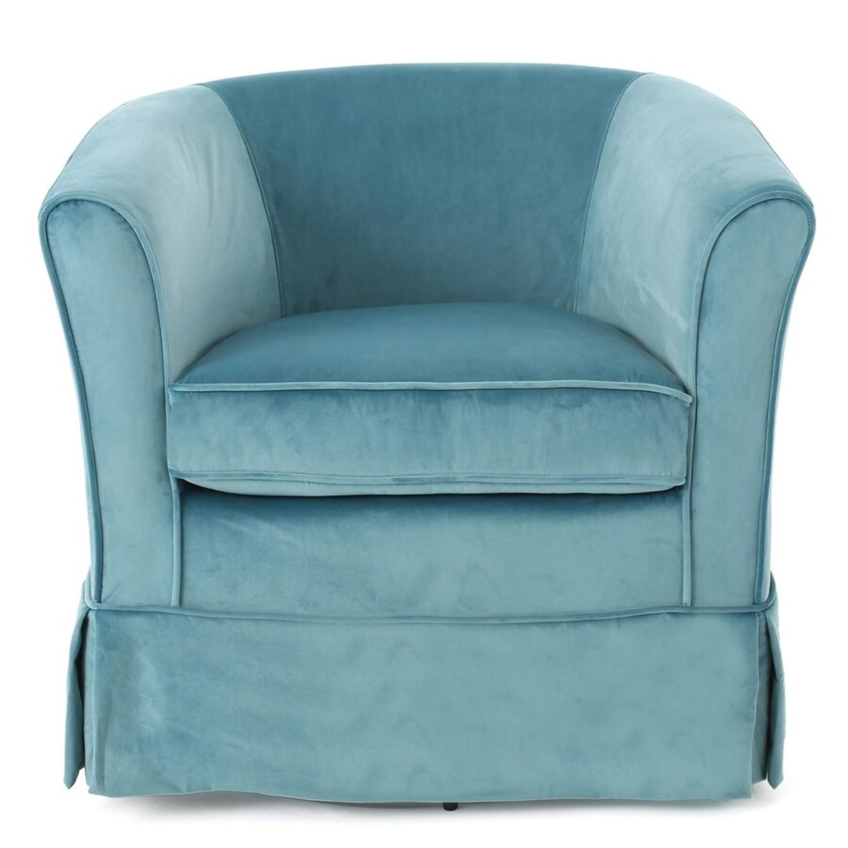 "*Aajaylah 27.5"" Wide Swivel Slipcovered Barrel Chair - Small Tear On Arm"