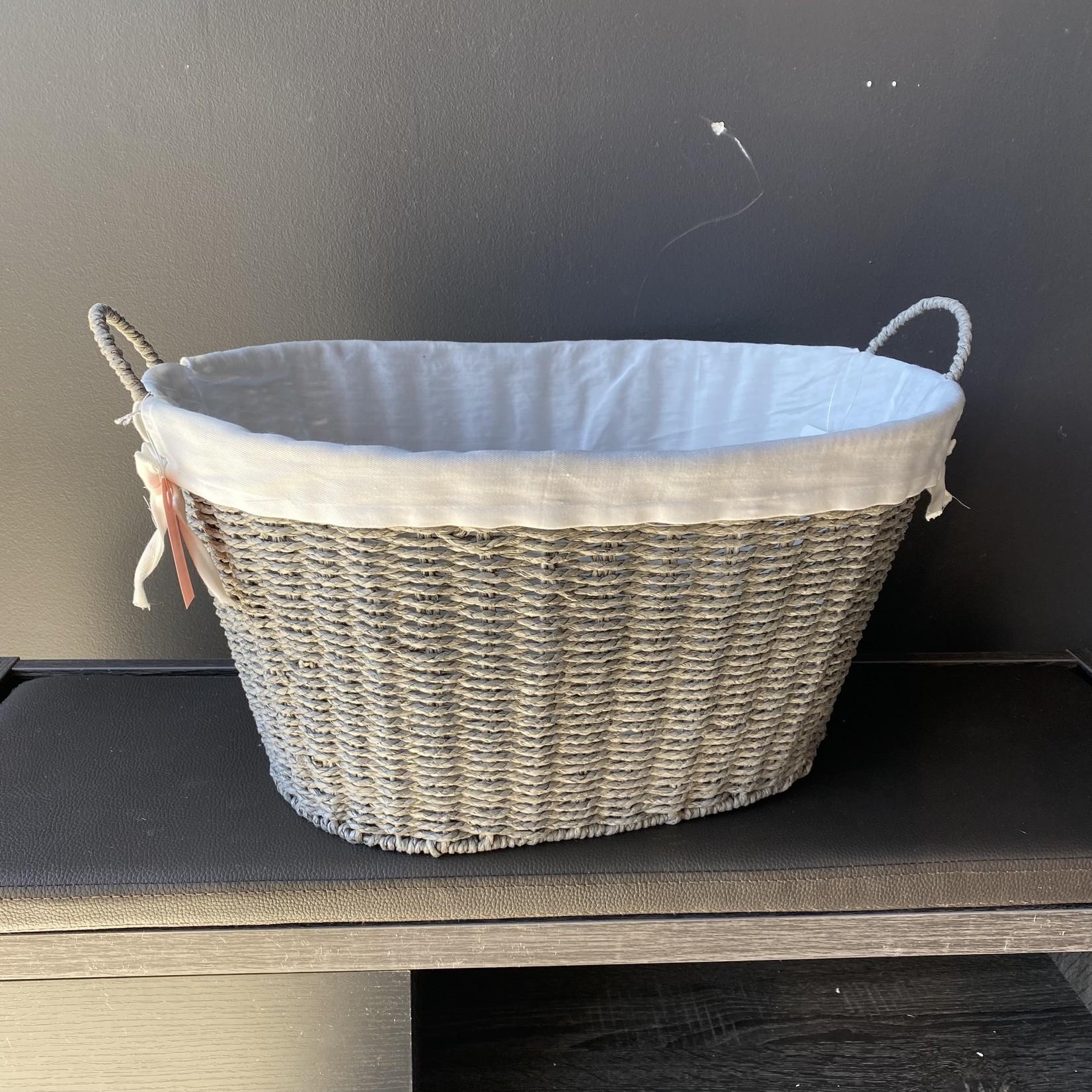 *Wicker Paper Rope Laundry Basket - Gray