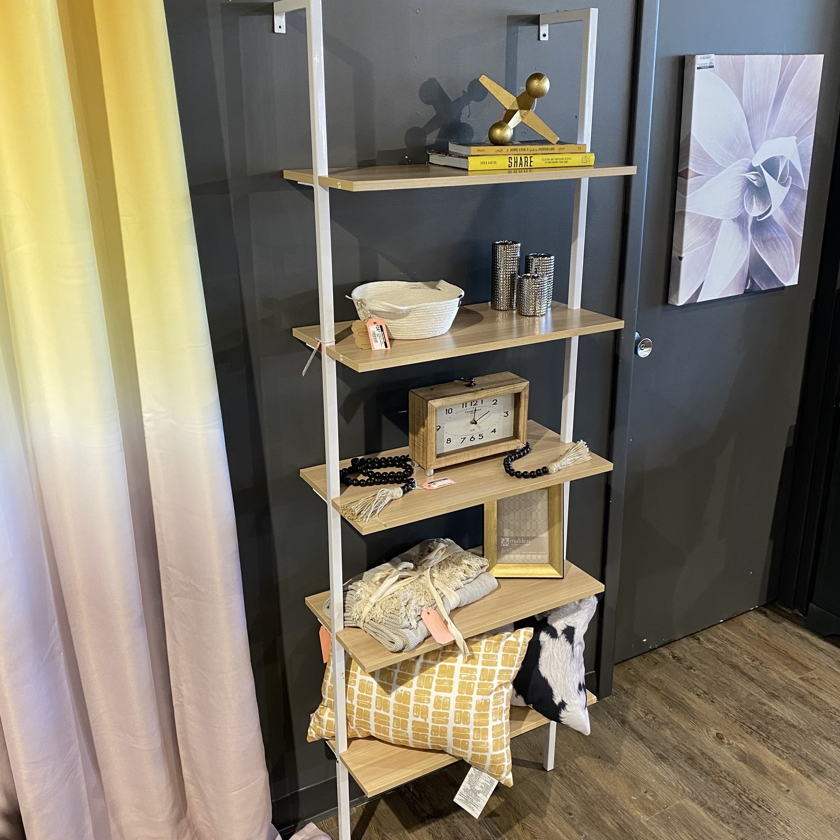 "*Zachary 72.5"" H x 24"" W Metal Ladder Bookcase - Unassembled"