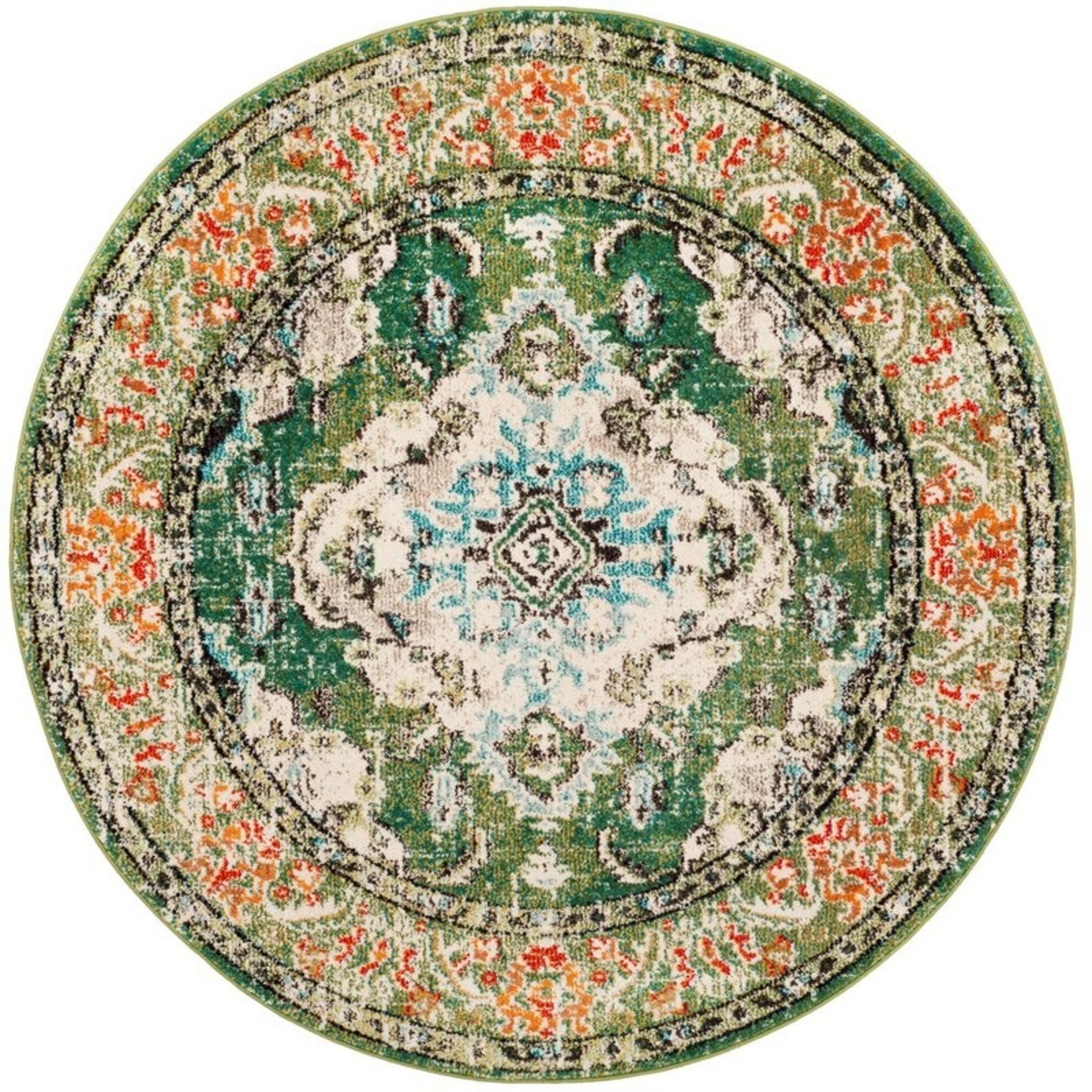 *5' Round - Indira Oriental Green/Light Blue Area Rug