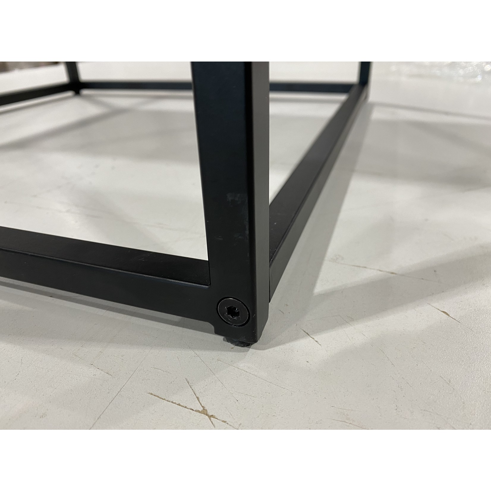 *Duran Glass Top Frame End Table with Storage - Black  - Slight Scratches