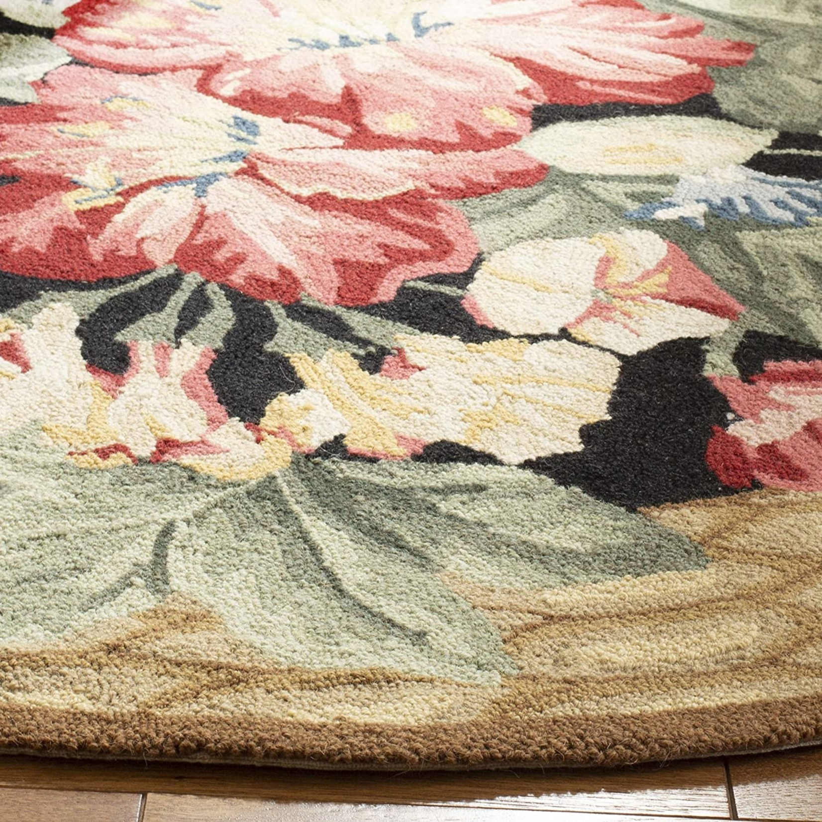 *7'6 x 9'6 Oval - Chelsea Floral Hand Hooked Wool Brown/Black Area Rug