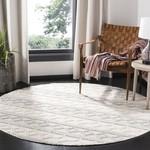 *6 Round - Diara Geometric Handmade Flatweave Wool/Cotton Gray/Ivory Area Rug