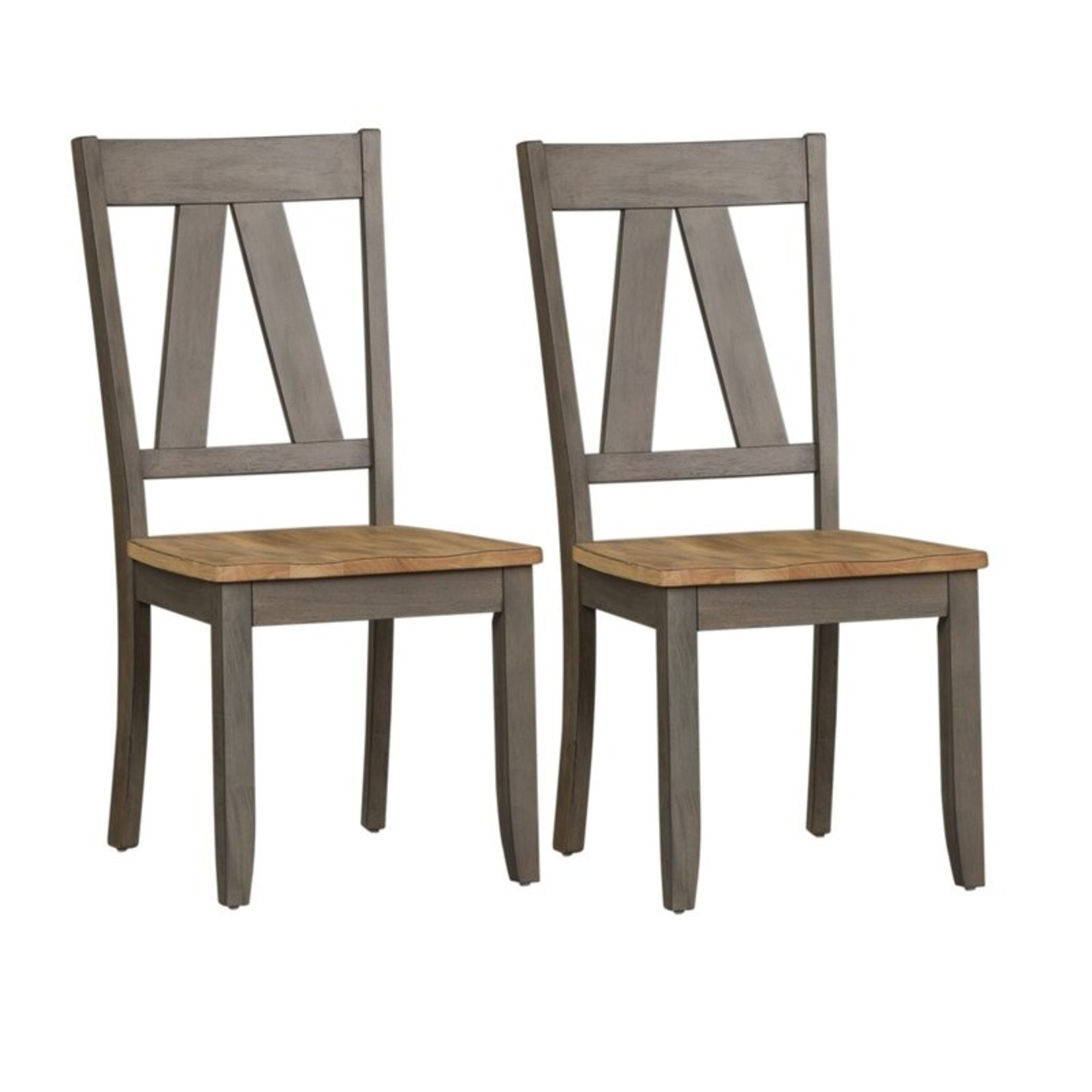 *Kruger Solid Wood Cross Back Side Chairs in Light Gray - Set of 2