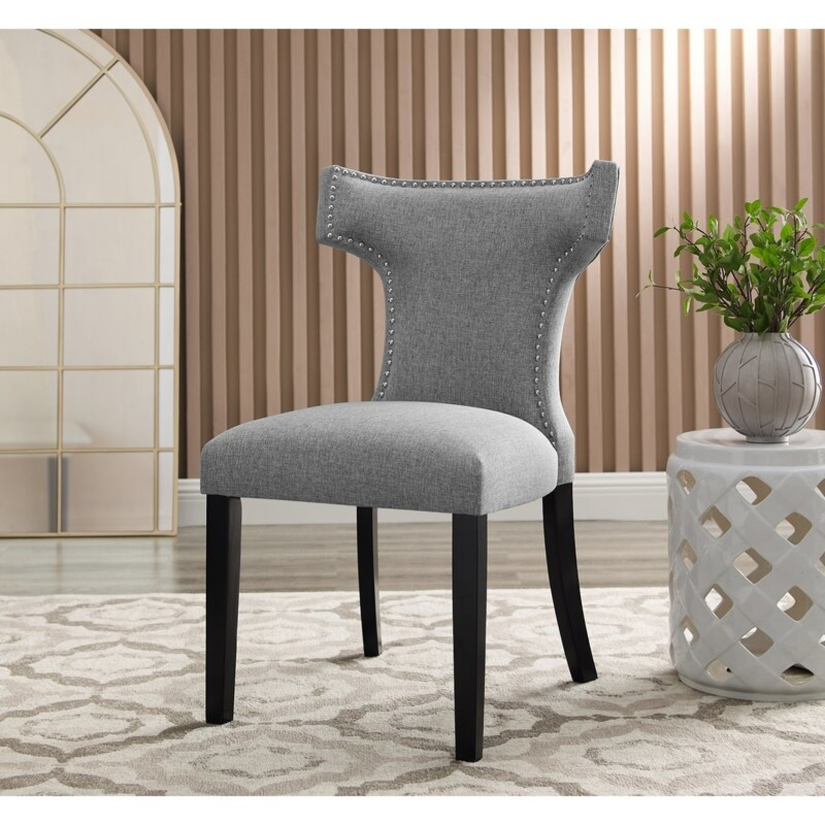 *Vensey Linen Wingback Dining Chair - Set of 2