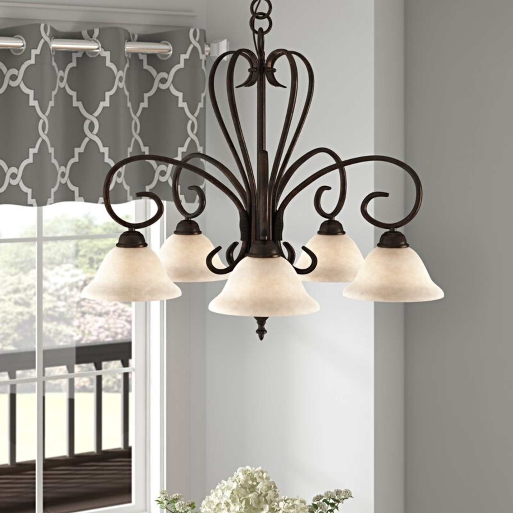 *Gaines 5 - Light Shaded Classic Chandelier - Rubbed Bronze with Tea Stone