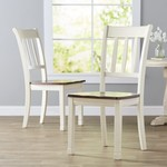 *Leamont Ladder Back Side Chair in Cottage White/Brown - Set of 2