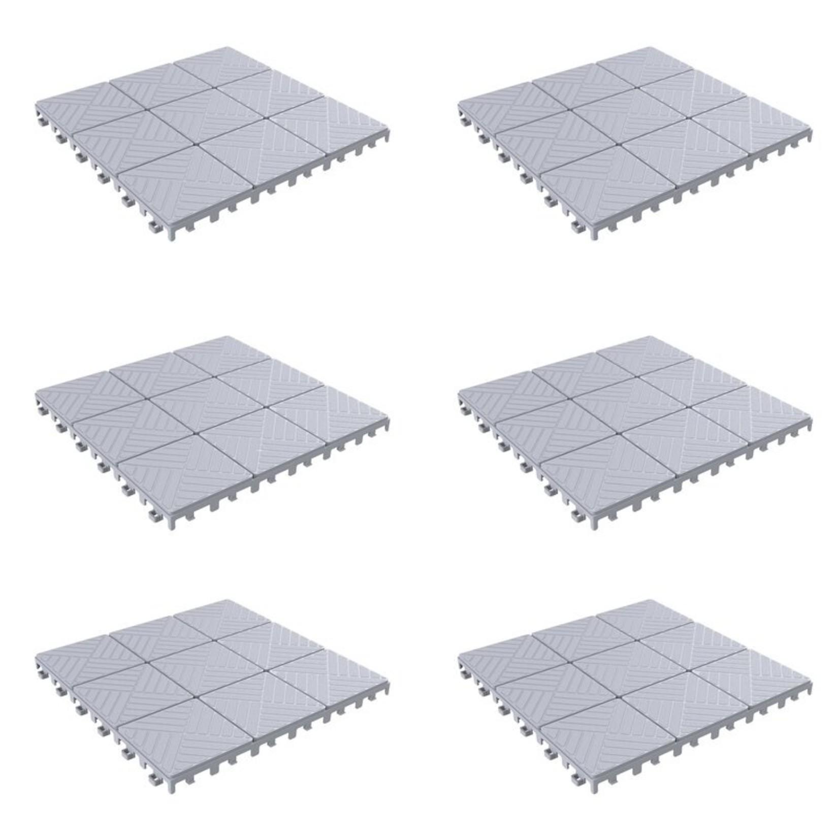 "*11.5"" x 11.5"" Plastic Interlocking Deck Tile in Gray (Set of 6)"