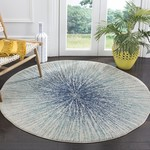 """*5'1"""" Round - Faustina Abstract Royal/Ivory Area Rug"""