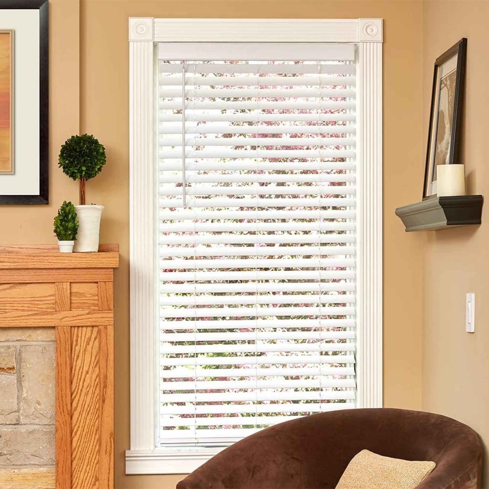 "*Faux Wood Room Darkening White Horizontal Blind - 23.75"" x 60"" - Final Sale"