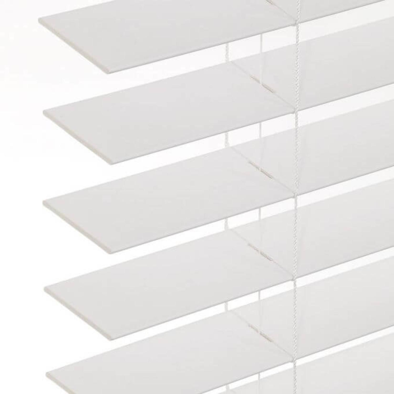 "*23"" x 64"" - Faux Wood Room Darkening White Horizontal Blind - Final Sale"