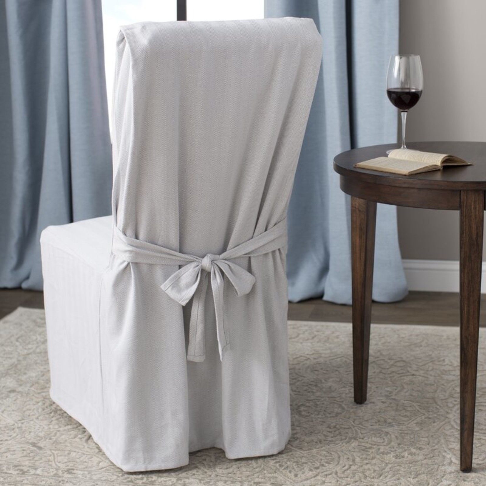 *Dining Chair Slipcover - Grey/White - Final Sale
