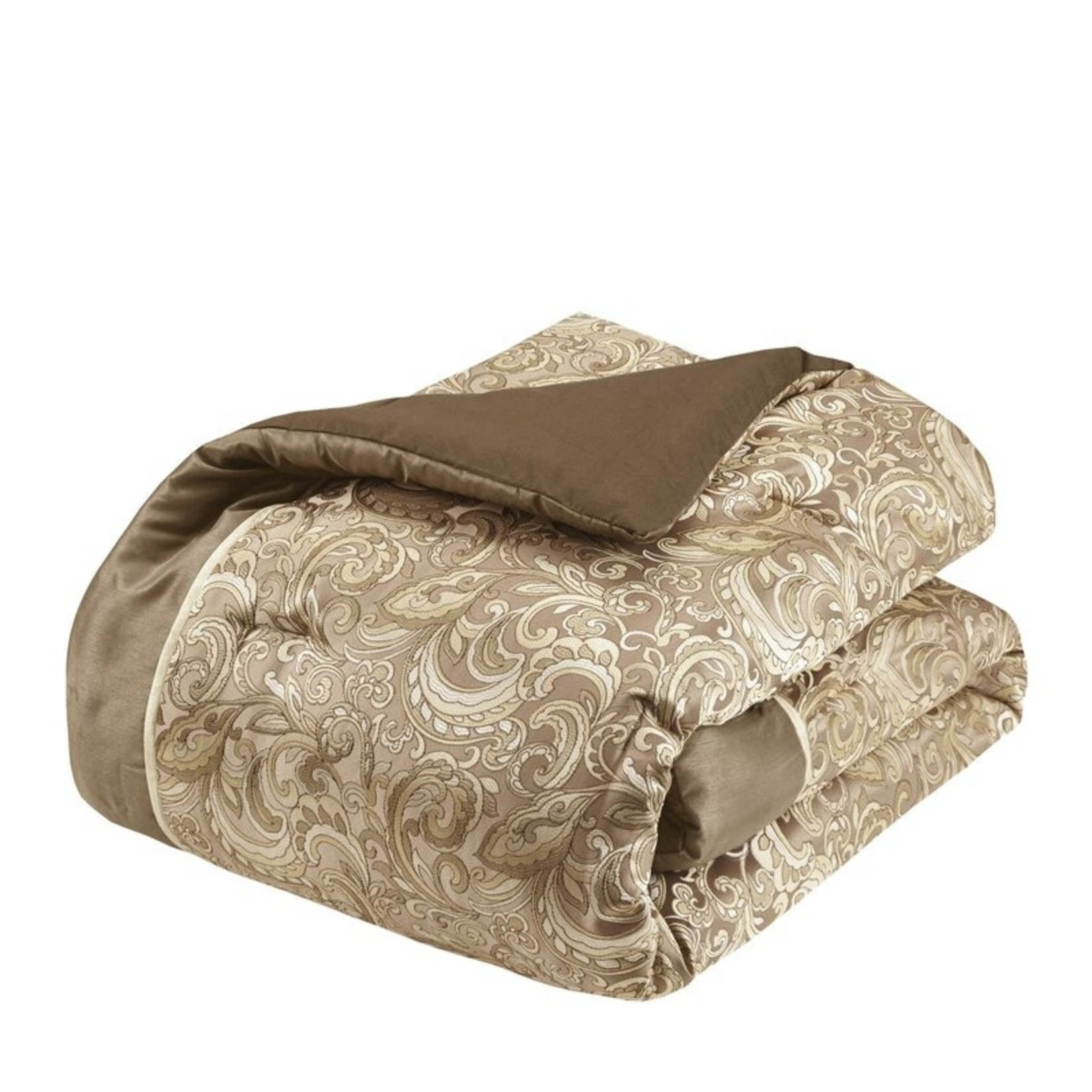 *King - Wightmans Paisley 24 Piece Comforter Bed-in-a-bag - Brown - Final Sale