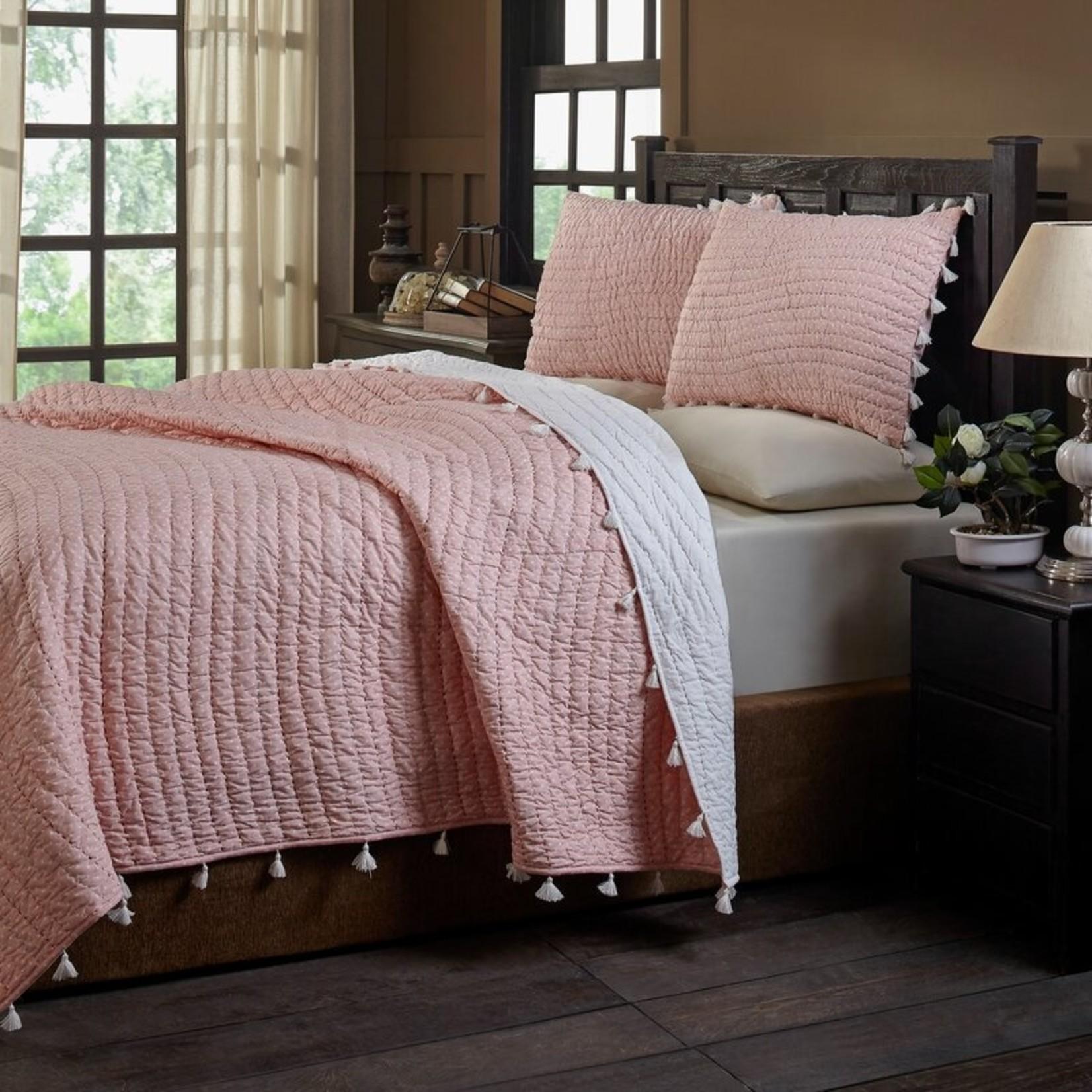 *Queen - Basia Reversible Quilt Set - Pink - Final Sale