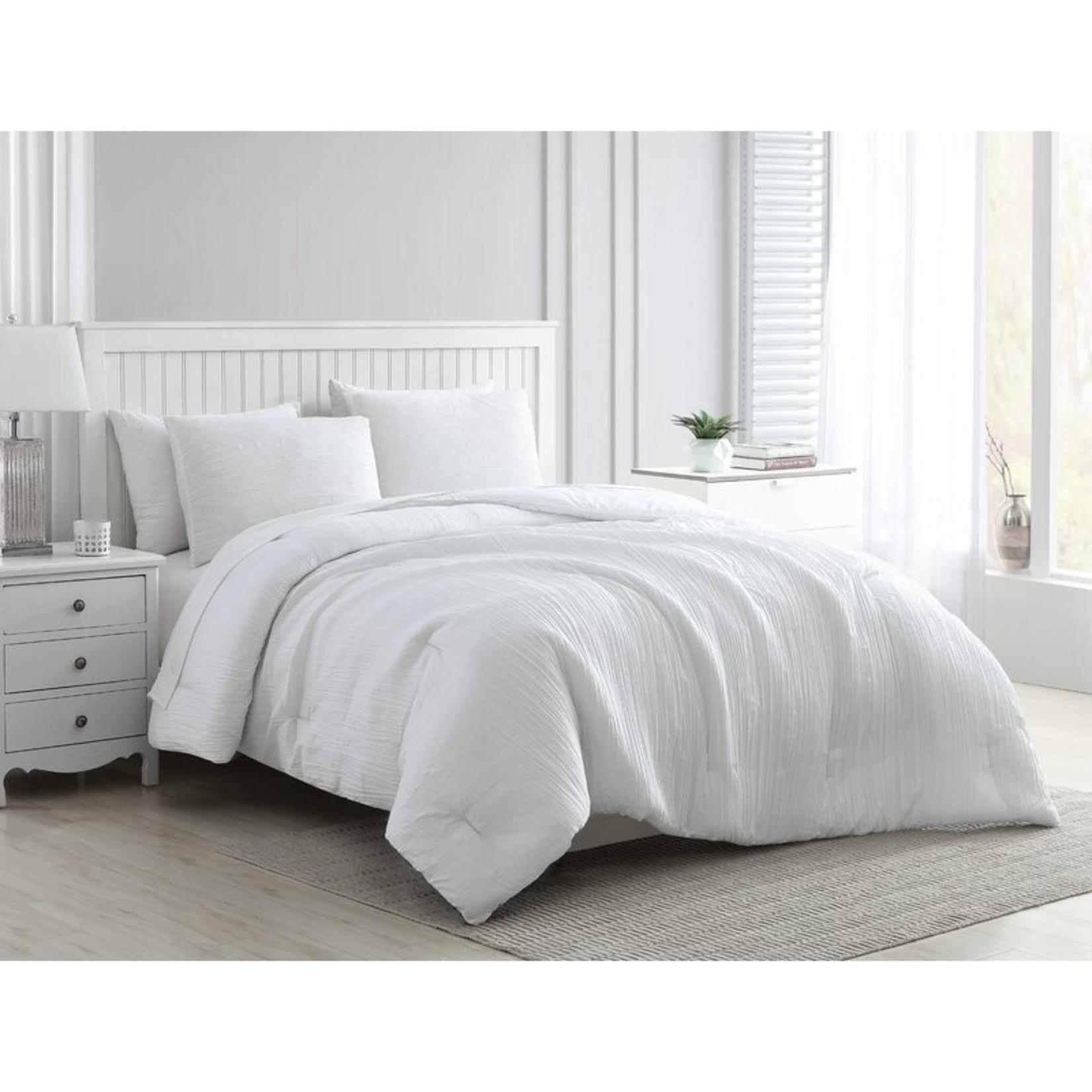 *Queen - Azime Greenport Crinkle 3-Piece Comforter Set In Wedgewood - White - Final Sale