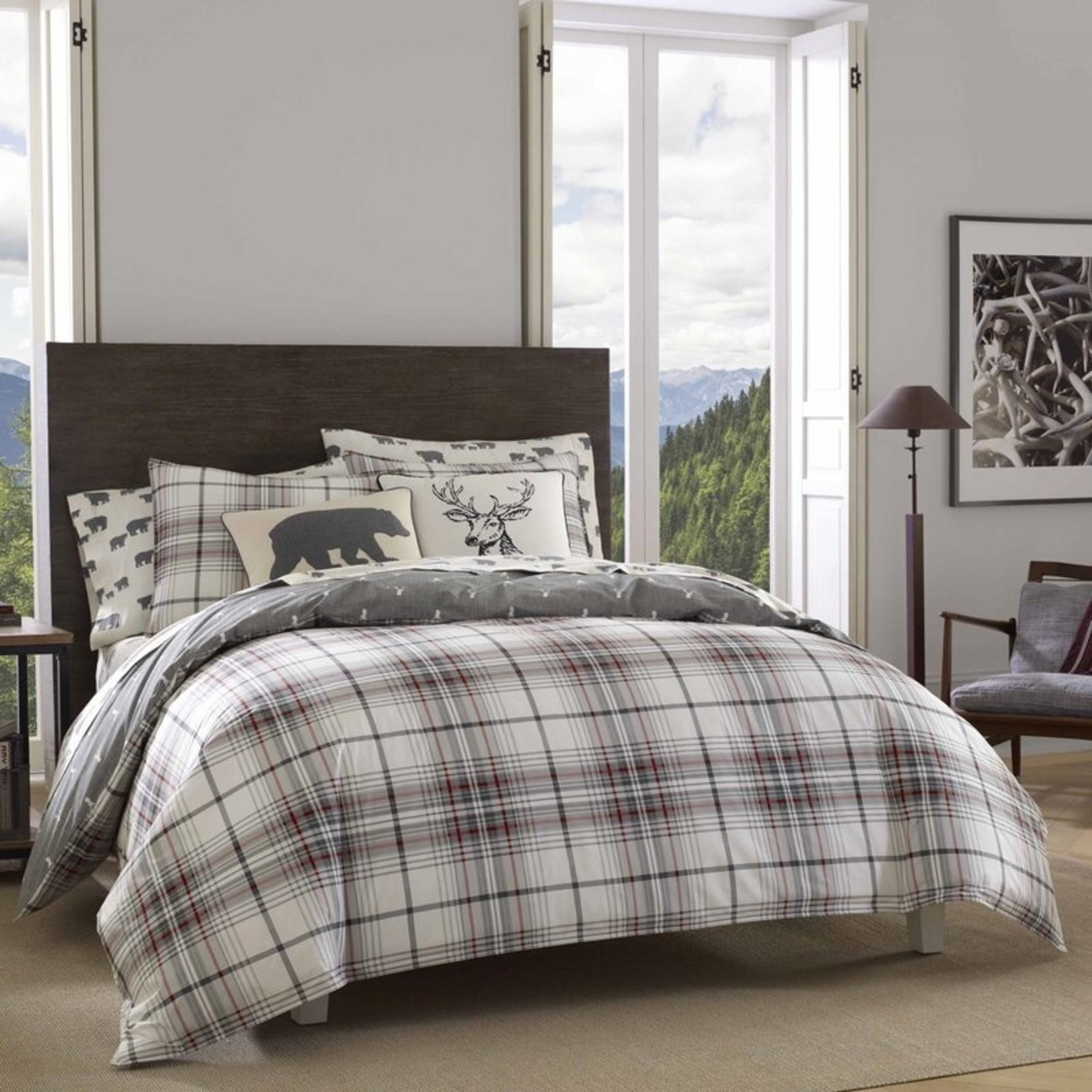 *Full/Queen - Alder Plaid Reversible Comforter Set - Final Sale