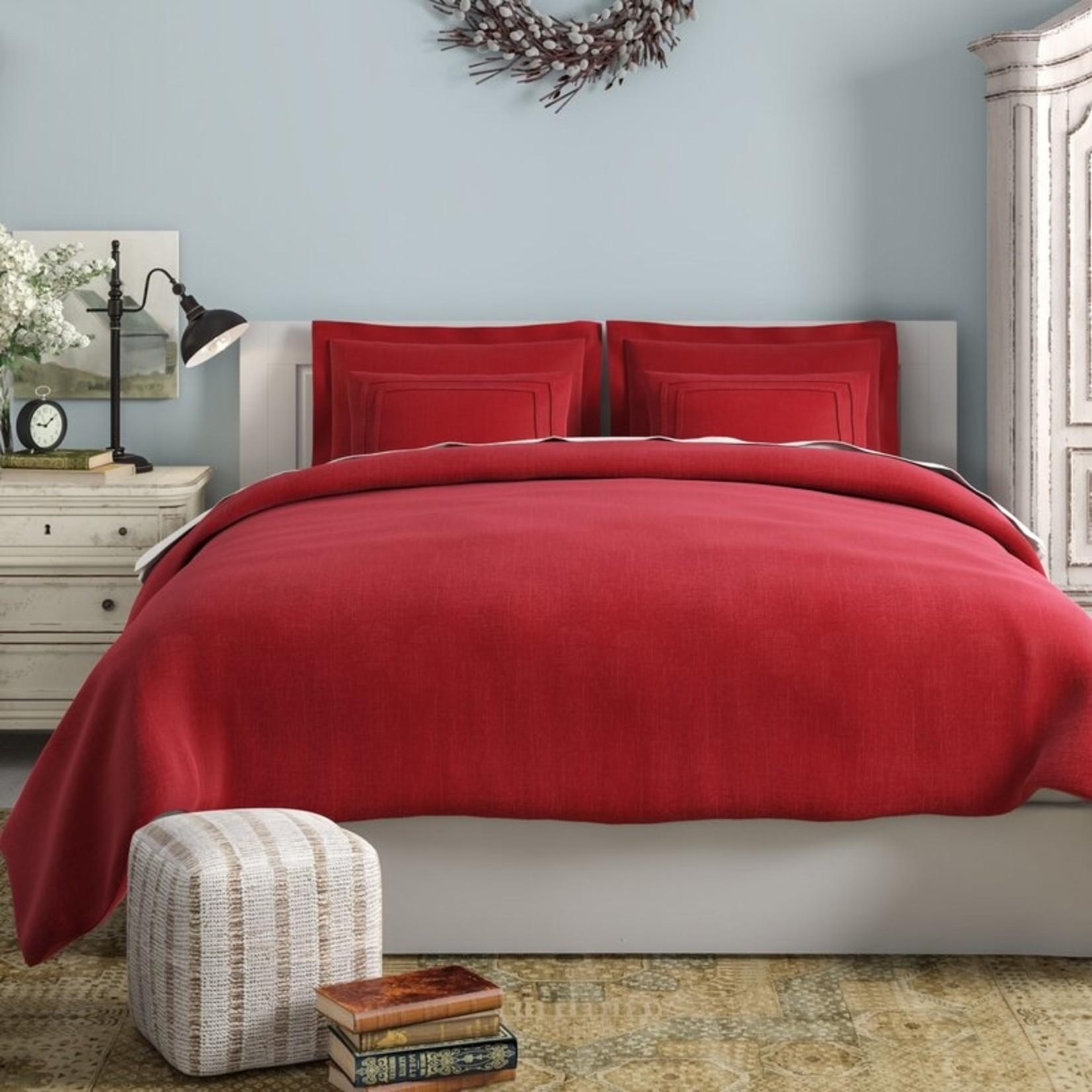 *Queen - Lola Bedding Cotton 3 Piece Duvet Cover Set - Brick - Final Sale