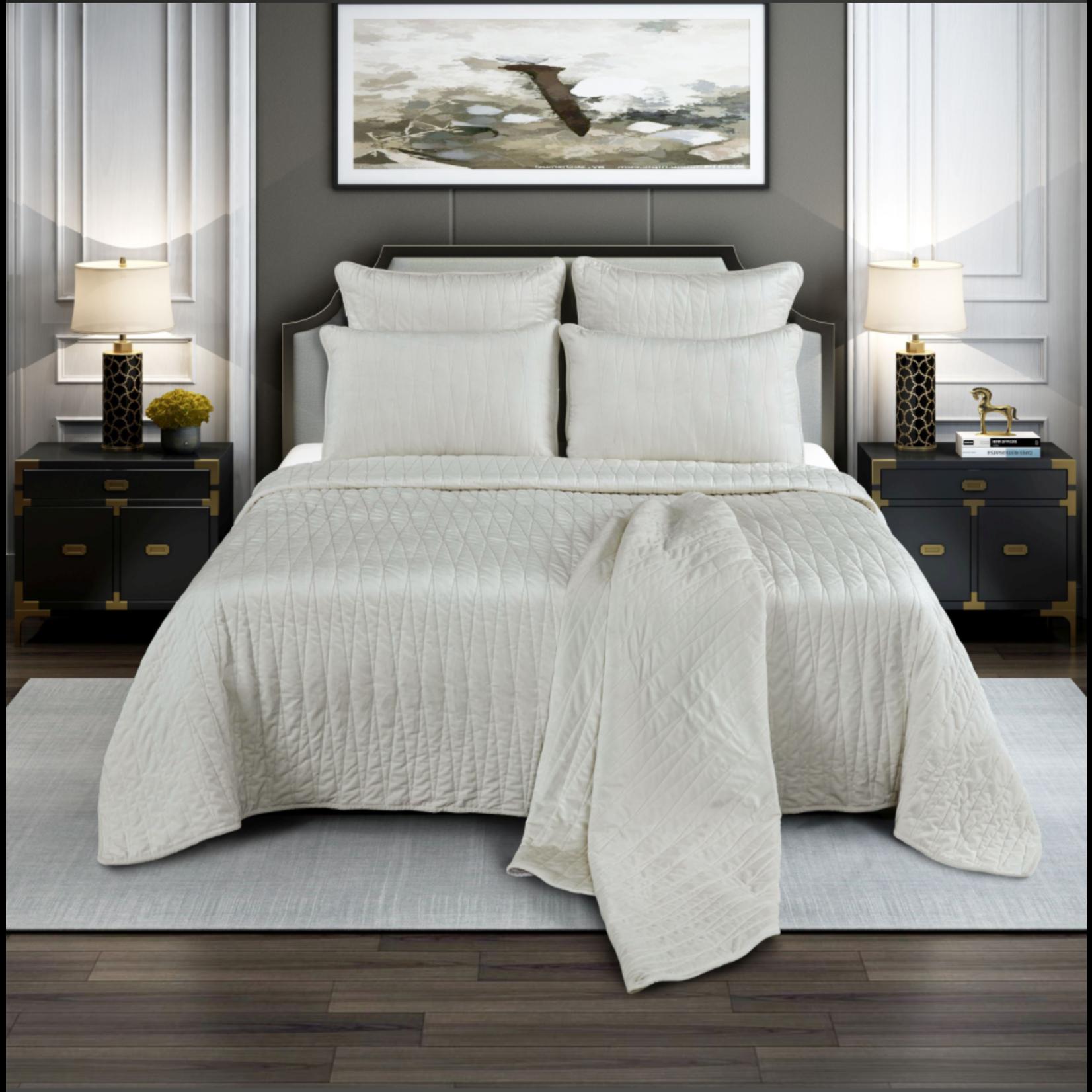 *King - Premium Quilt Set - Ivory - Final Sale