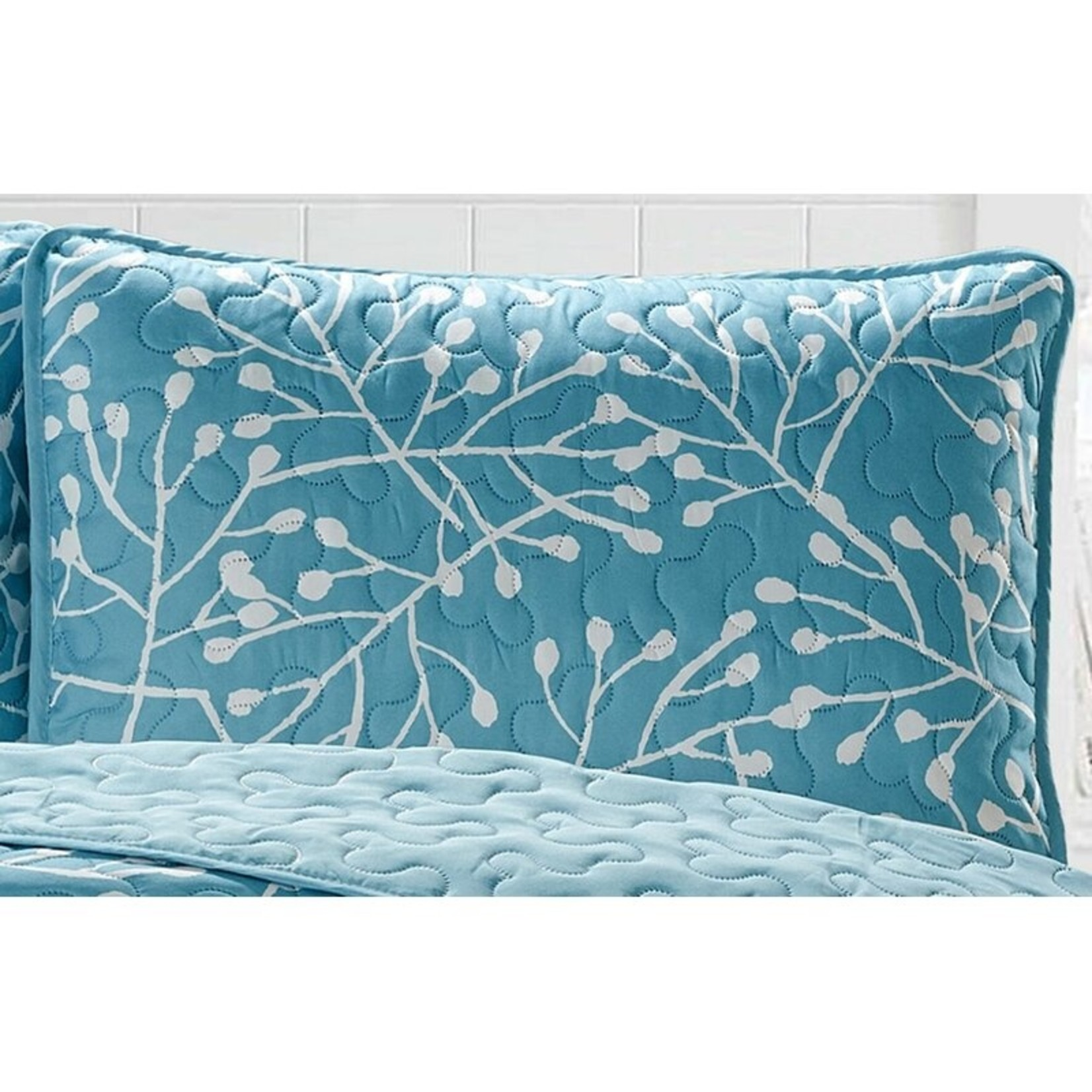 *King - Dorland Branches Quilt Set - Aqua - Final Sale
