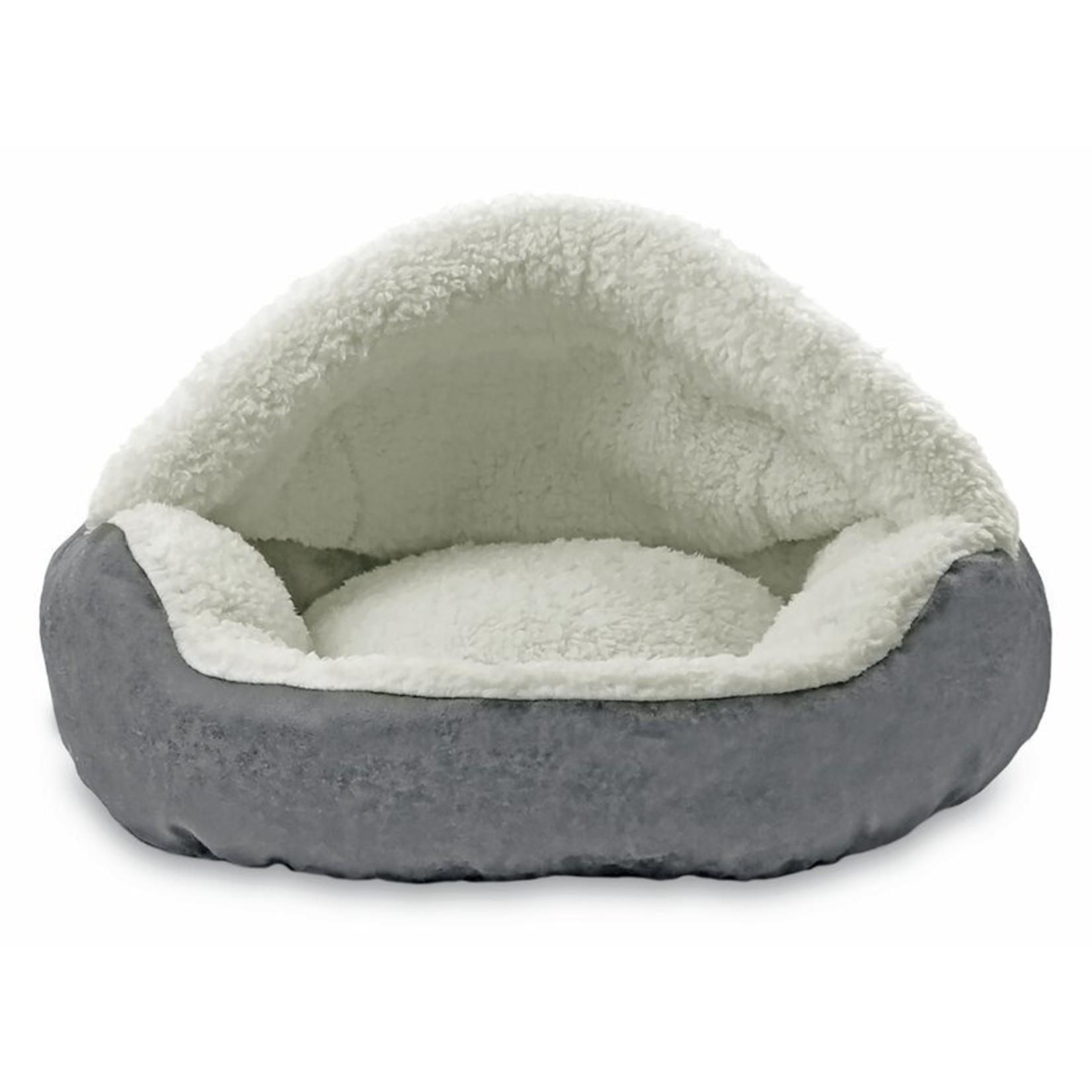 *Iowa Vegan Leather Deep Dish Cave Hooded Dog Bed - Gray